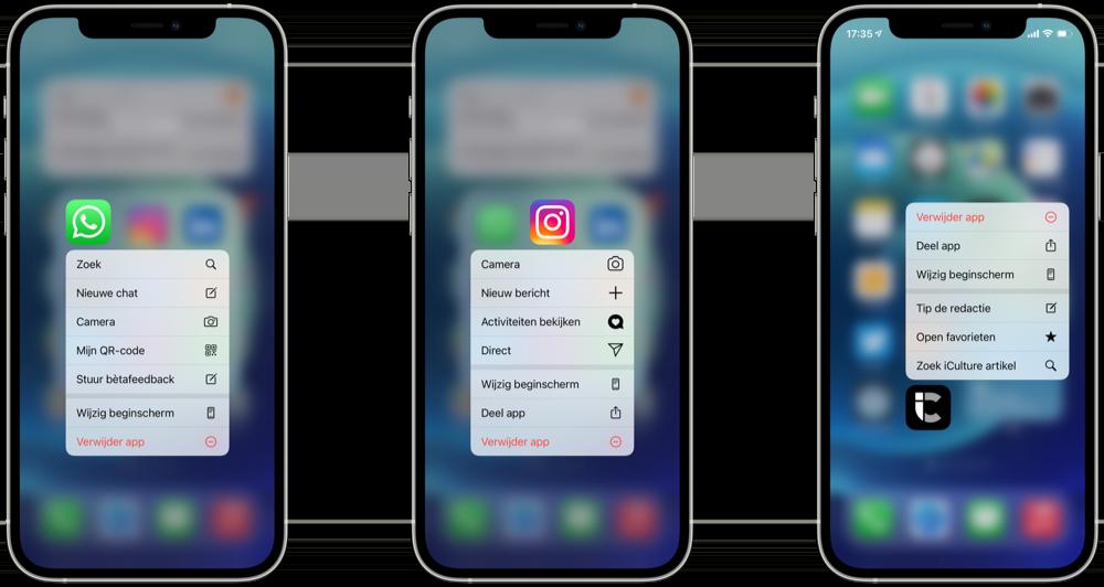 Quick Actions op iPhone met populaire apps.