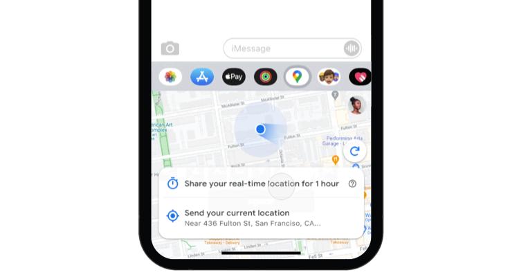 Google Maps iMessage app live locatie delen.