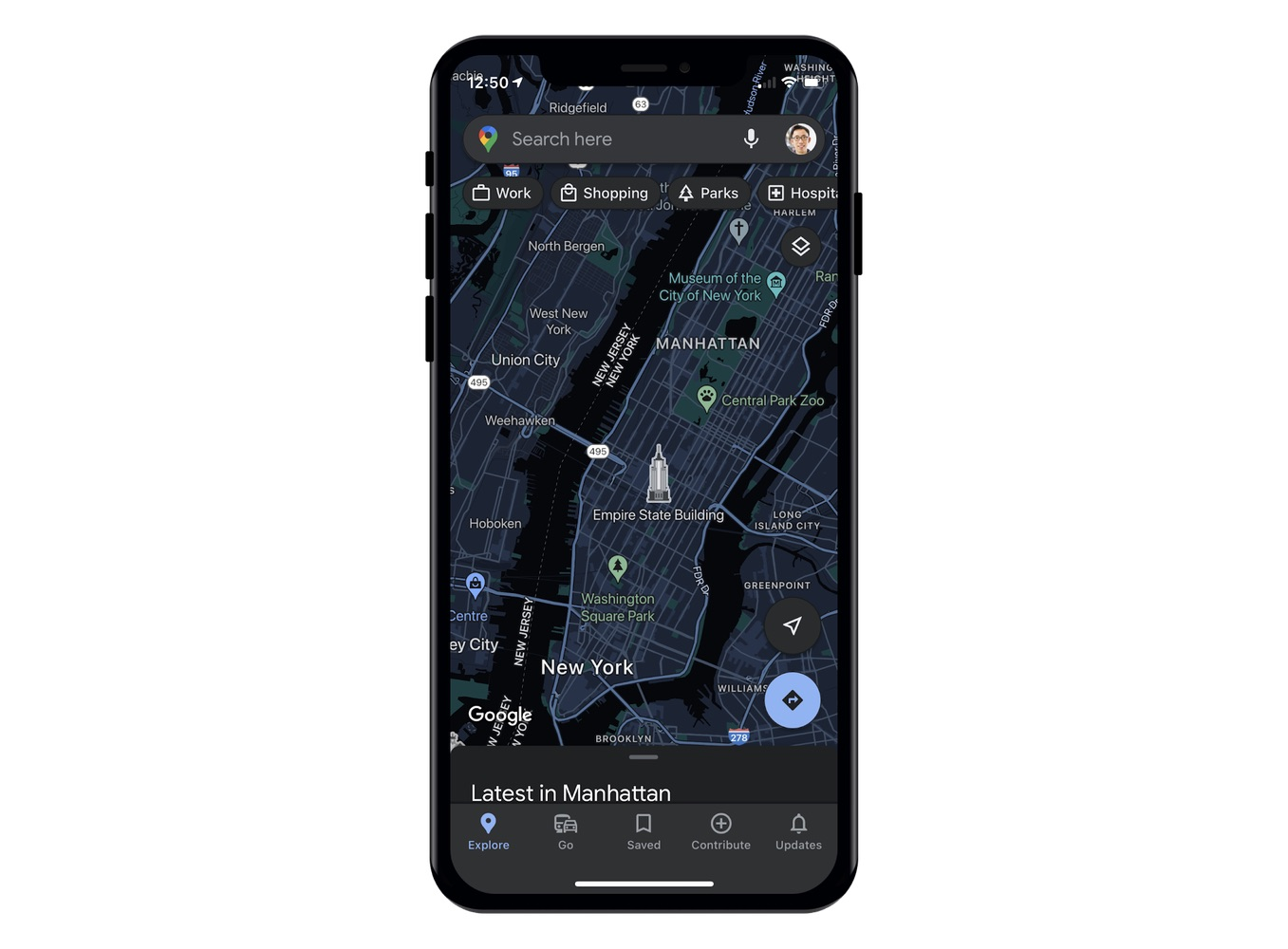 Google Maps donkere modus op iPhone.