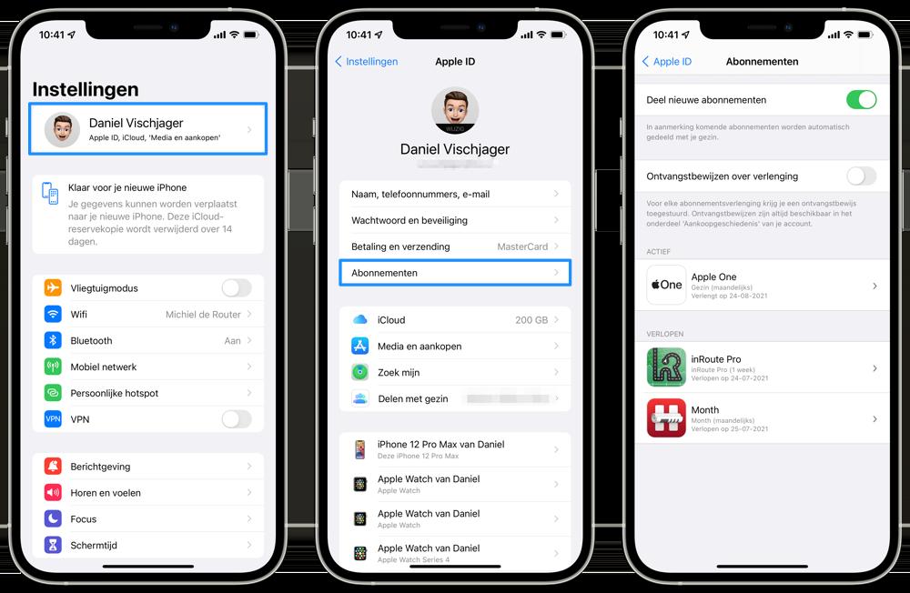 App Store abonnement bekijken