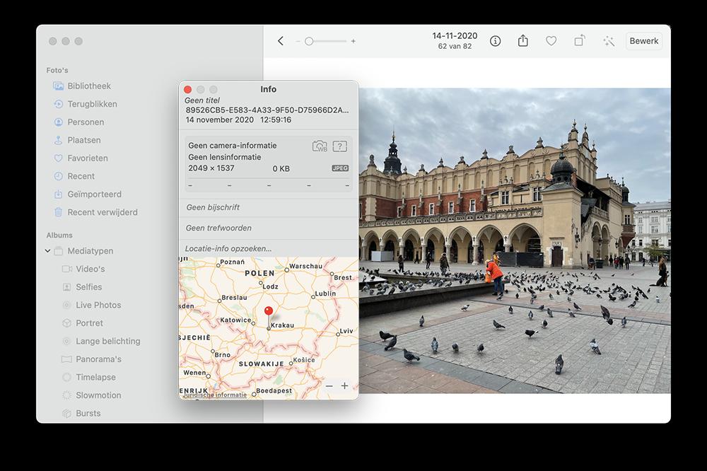 Locatie foto's op de Mac