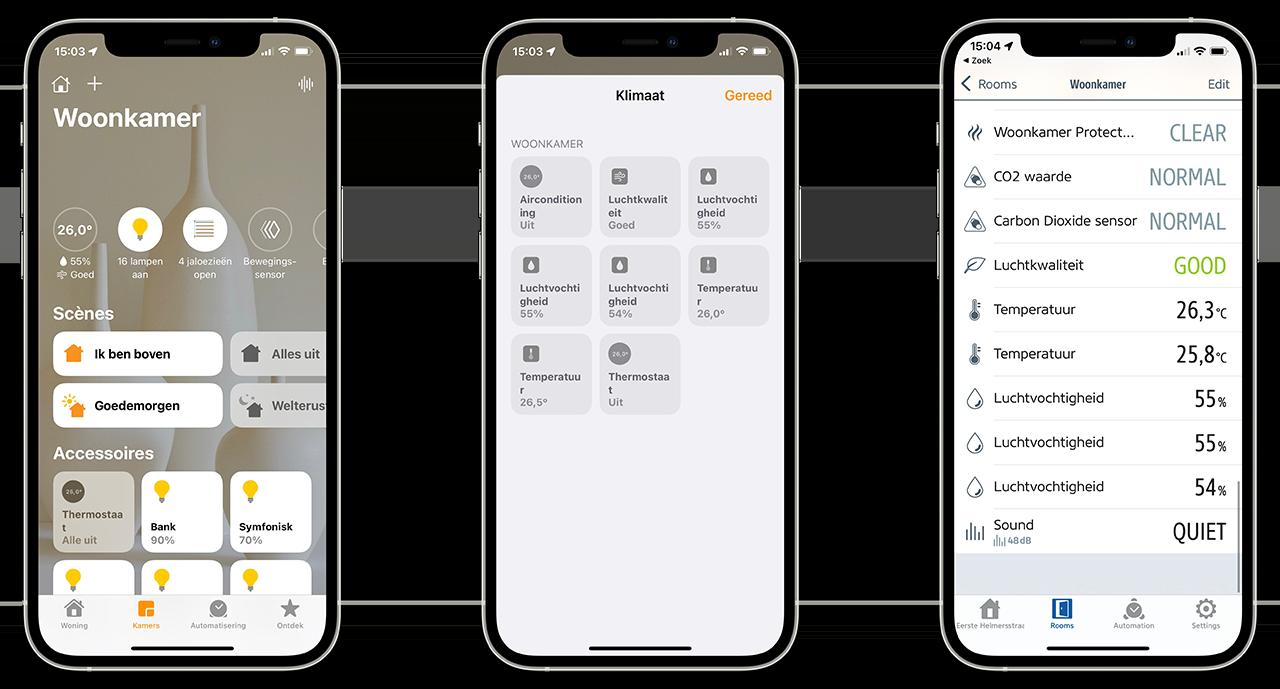 Woning- en Eve-app met metingen