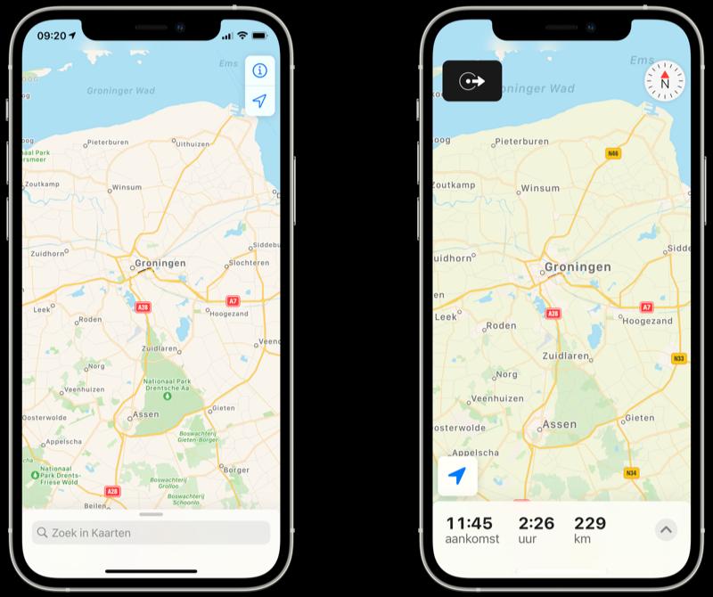 Apple Kaarten weergave gewone vs tijdens navigatie.