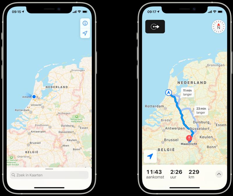 Apple Kaarten-weergave: normaal vs tijdens navigatie.