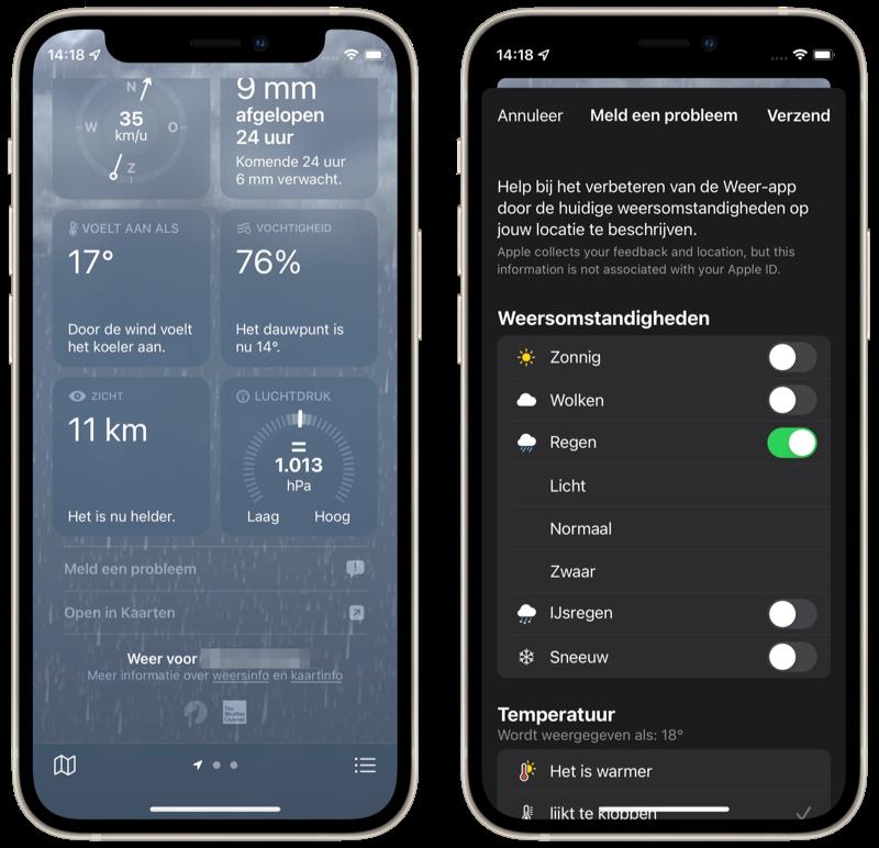 Weer-app: probleem melden op jouw locatie.