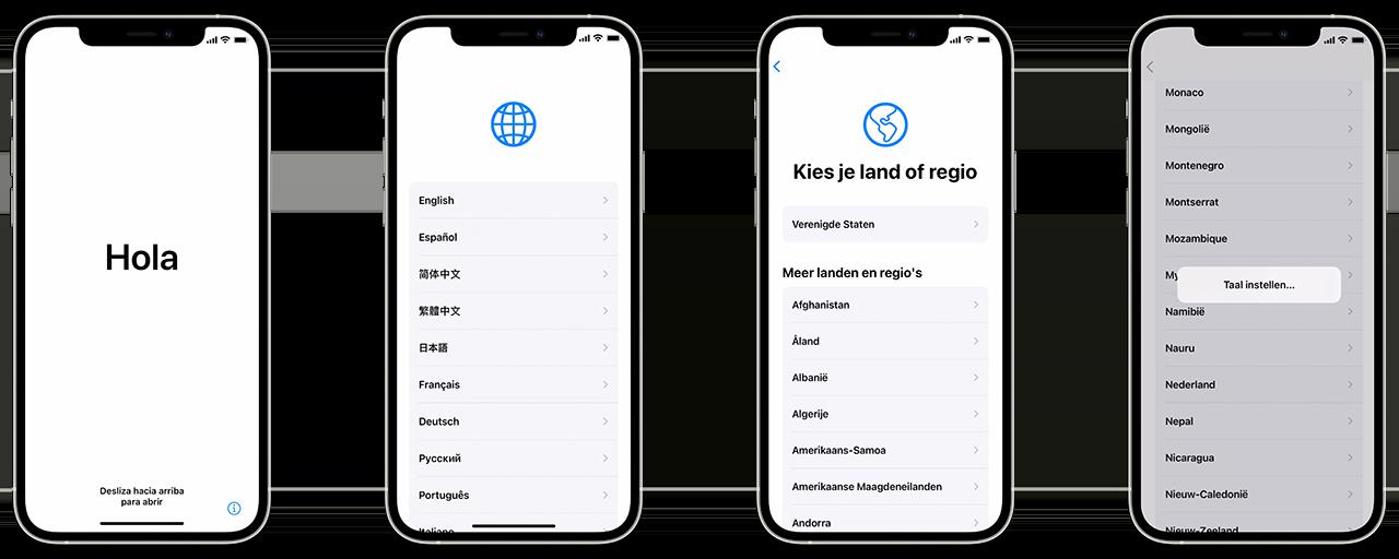 iPhone instellen: taal en regio