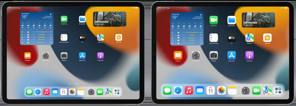 Grotere icoontjes in iPadOS 15.