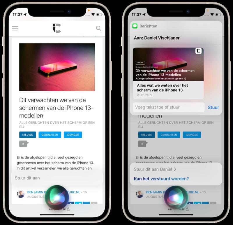 Content delen met Siri vanuit Safari.