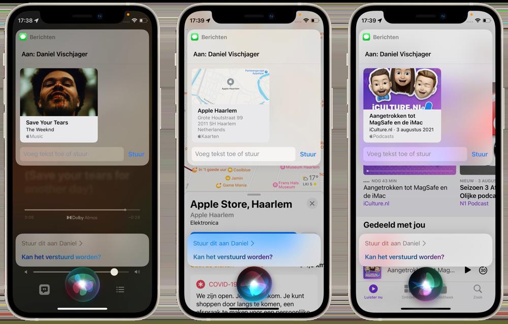 Inhoud van het scherm delen met Siri in iOS 15.