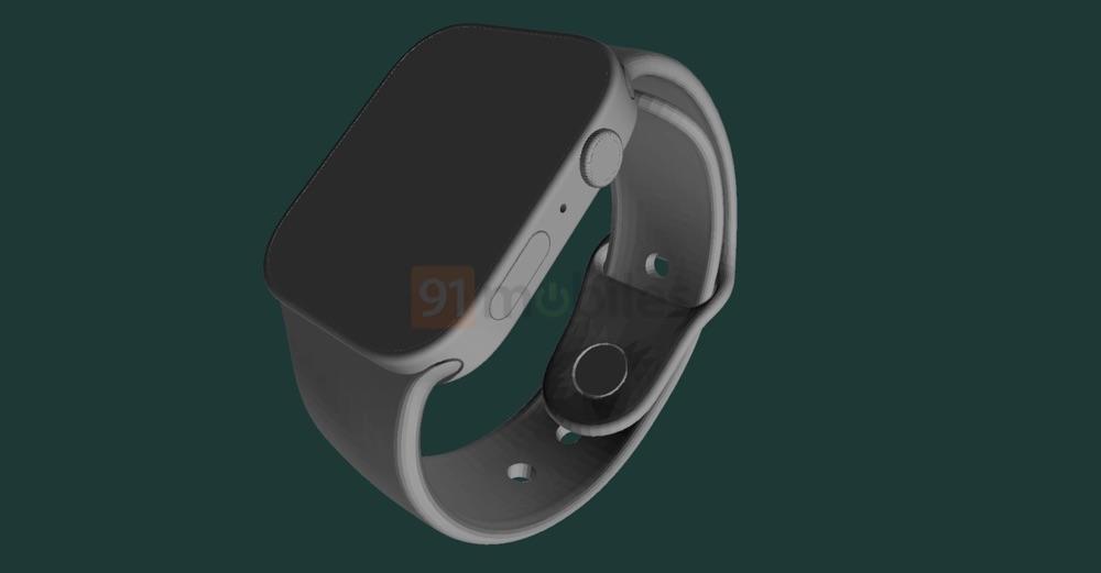 Zijkant van Apple Watch Series 7 renders.