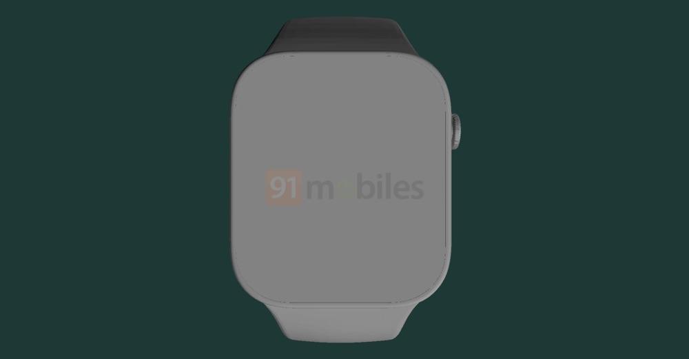 Voorkant met scherm van Apple Watch Series 7 renders.