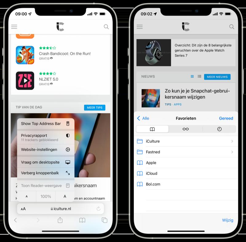 iOS 15 Safari beta 6: knop voor adresbalk en bladwijzers.