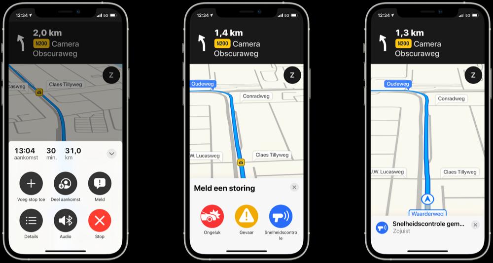 Apple Maps verkeersinformatie of ander ongeval melden.