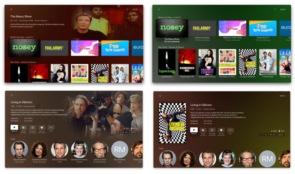 Plex op Apple TV: Content Layout Modern of Classic.