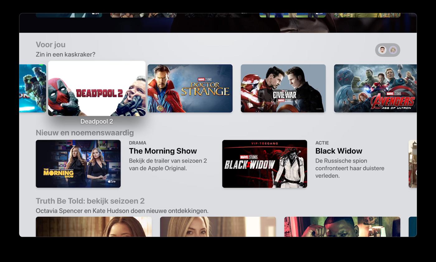 Aanbevelingen voor jou Apple TV