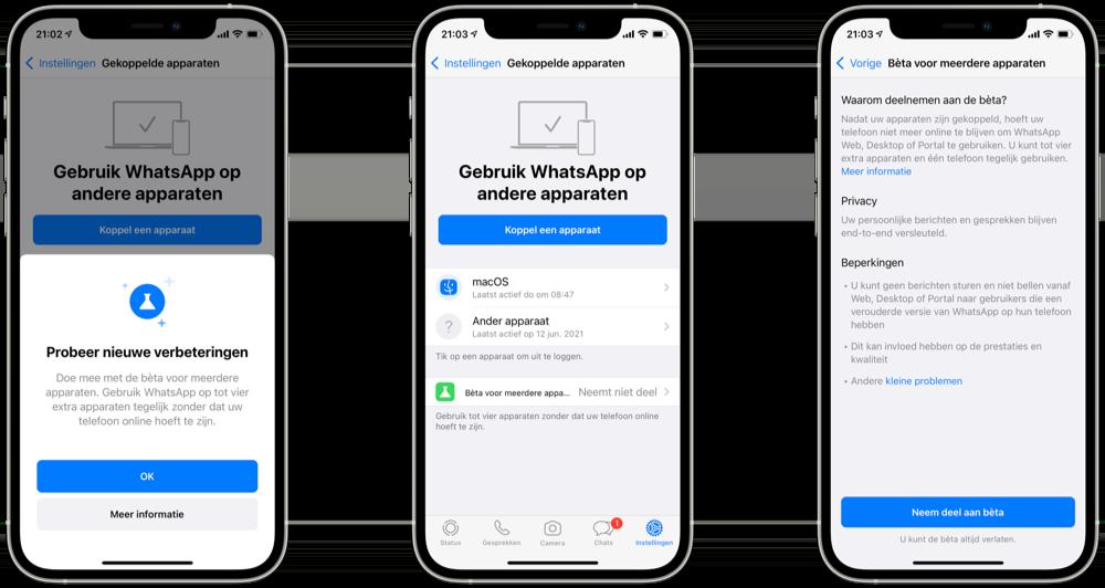 WhatsApp op meerdere apparaten gebruiken: aanmelden voor de beta.