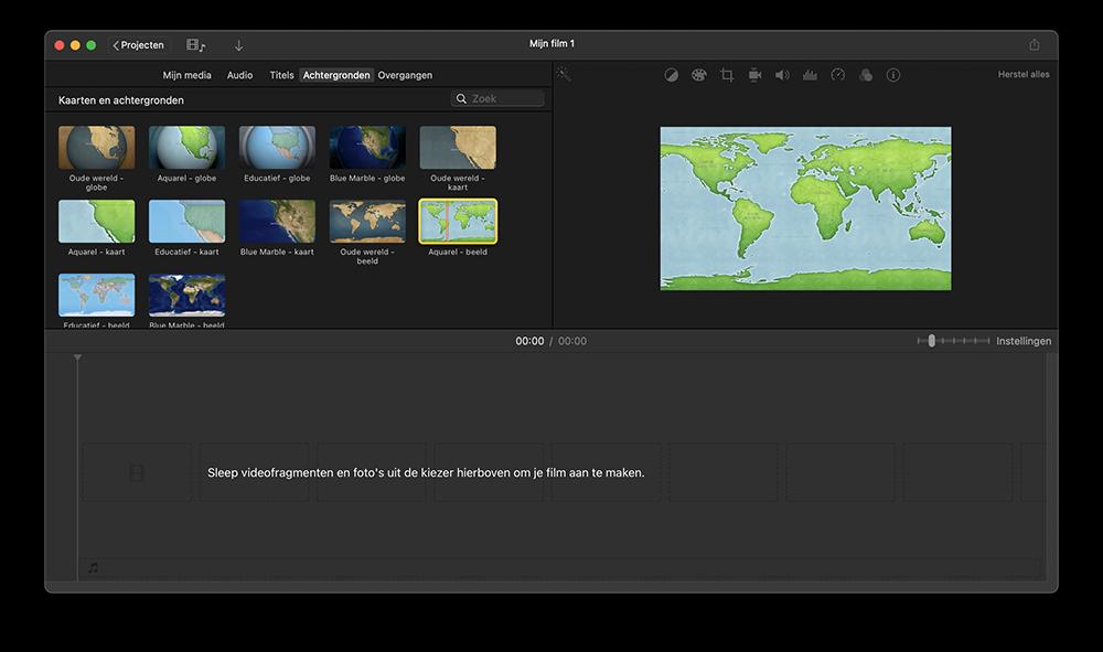 iMovie kaarten met wereldbollen