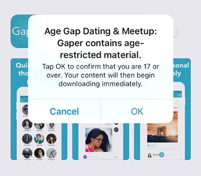 App Store melding bij downloaden van app voor volwassenen.