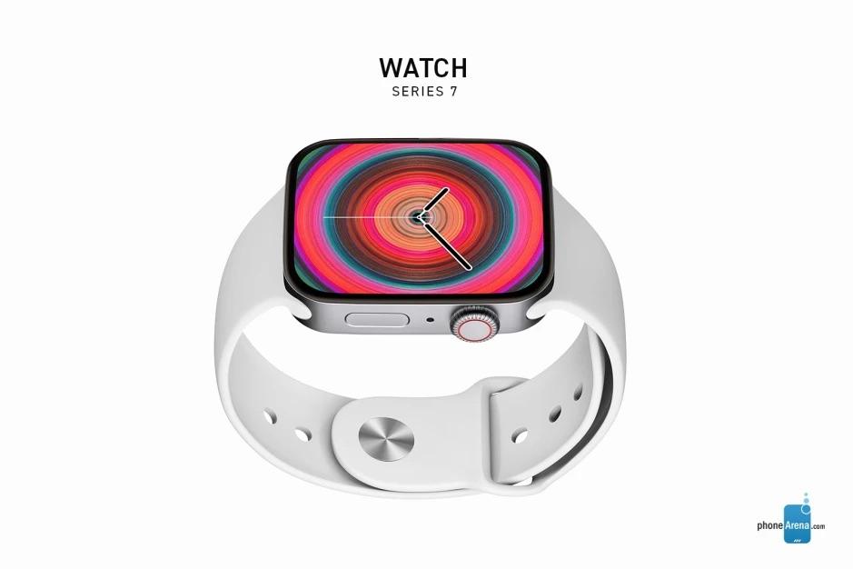 Apple Watch Series 7 concept render in zilver.