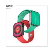 Render Apple Watch Series 7 met gekleurde bandjes.