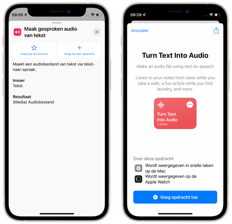 Siri Opdrachten Maak gesproken audio van tekst-taak.