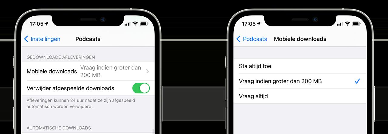 Podcasts: grote bestanden