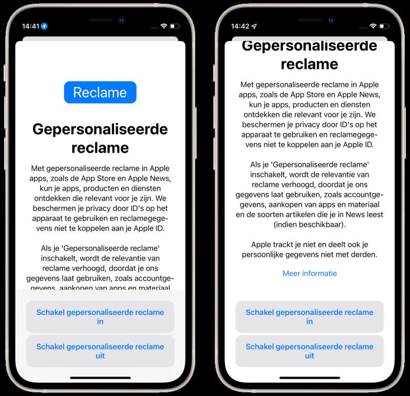 Melding over gepersonaliseerde reclame in de App Store.