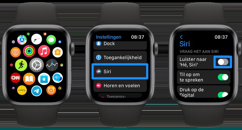 He Siri uitschakelen Apple Watch