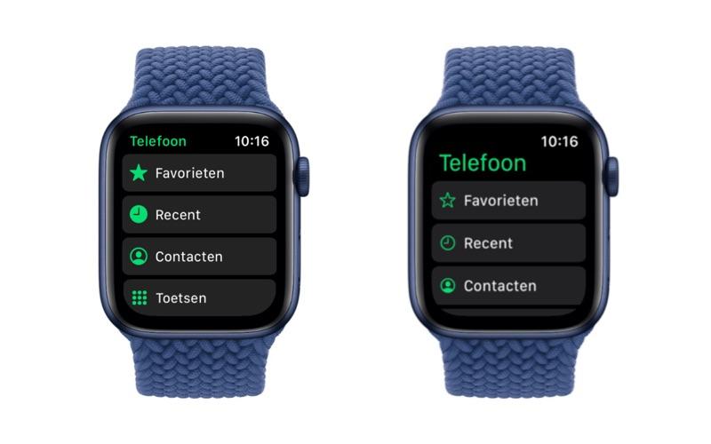 Apple Watch: app titels in watchOS 7 vs wachOS 8.