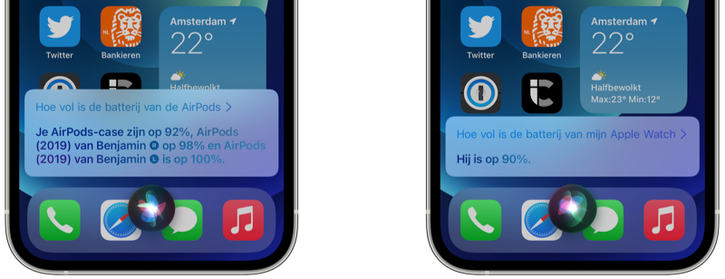 Siri batterijstatus van Bluetooth accessoires opvragen.