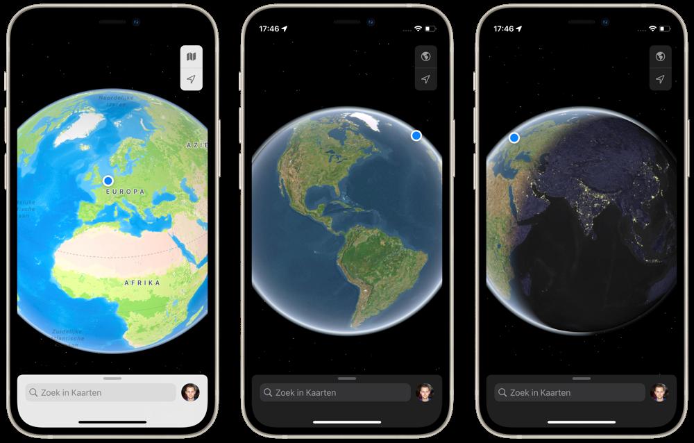 Apple Kaarten: 3D wereldbol bekijken.