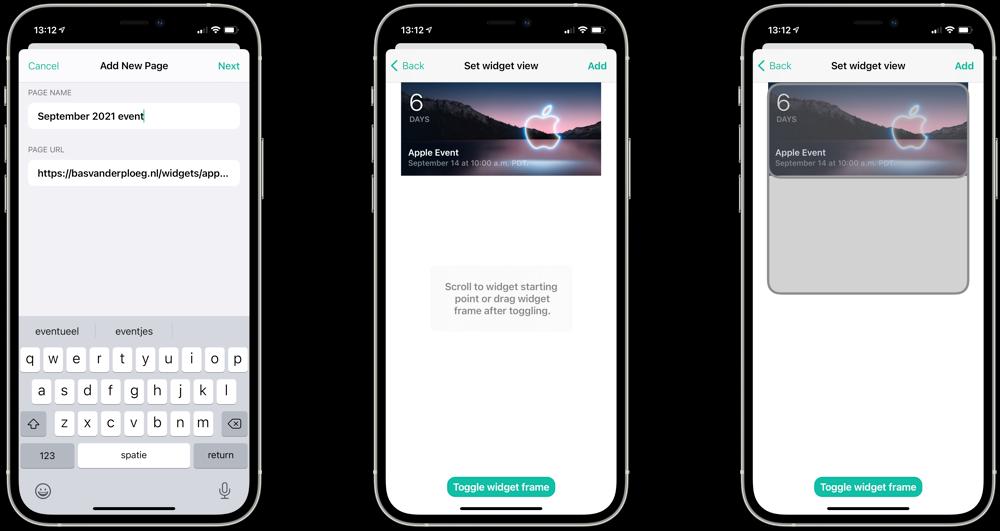 Glimpse widget voor september 2021 event met countdown.