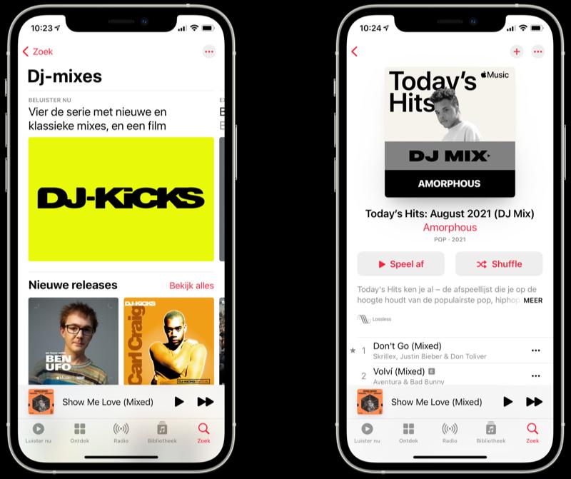 Apple Music: dj-mixes categorie in Muziek-app.