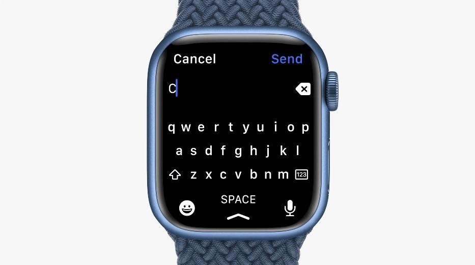 Apple Watch Series 7 toetsenbord.