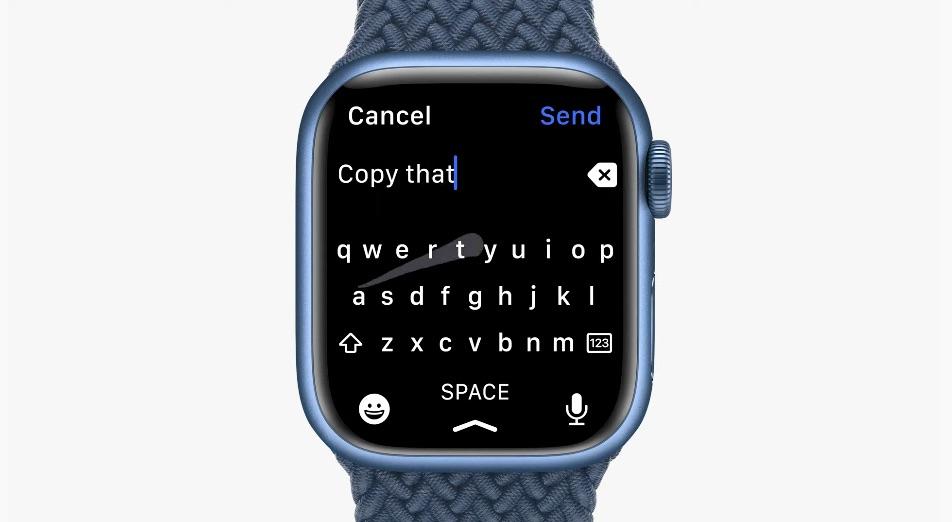 Apple Watch Series 7 toetsenbord met vegen.