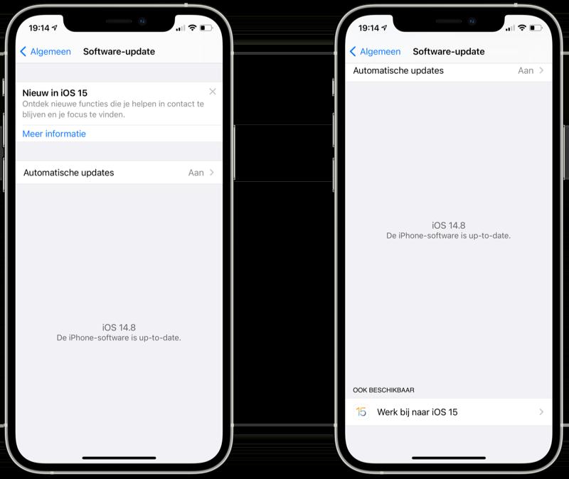 iOS 15 updaten knop.