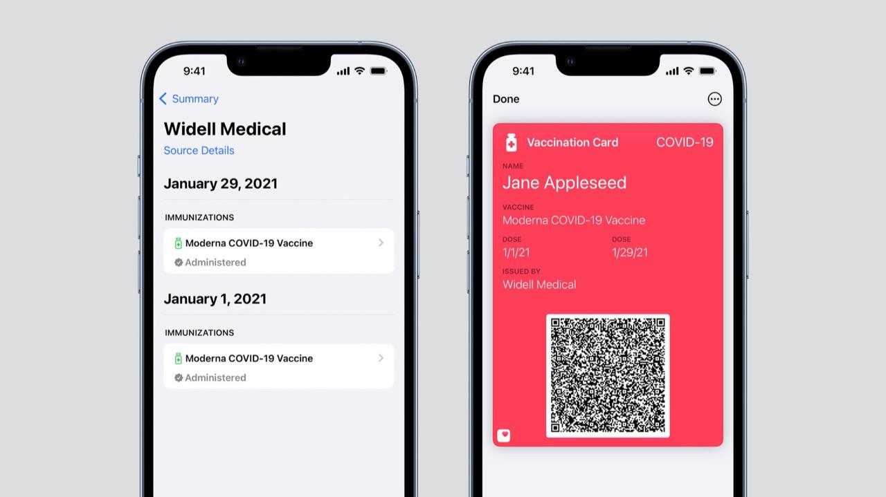 COVID-vaccinatiebewijs in Wallet via Gezondheid in iOS 15.1.
