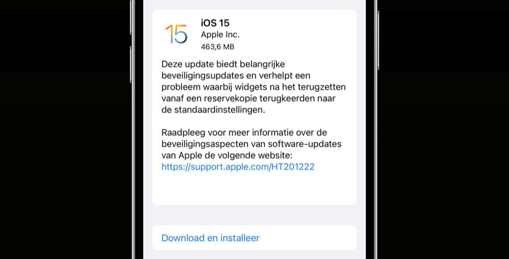 iOS 15 update voor iPhone 13.