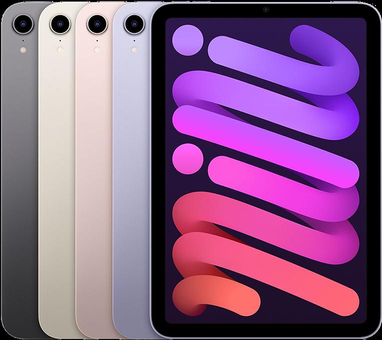 iPad mini 2021 kleuren in een stapel.