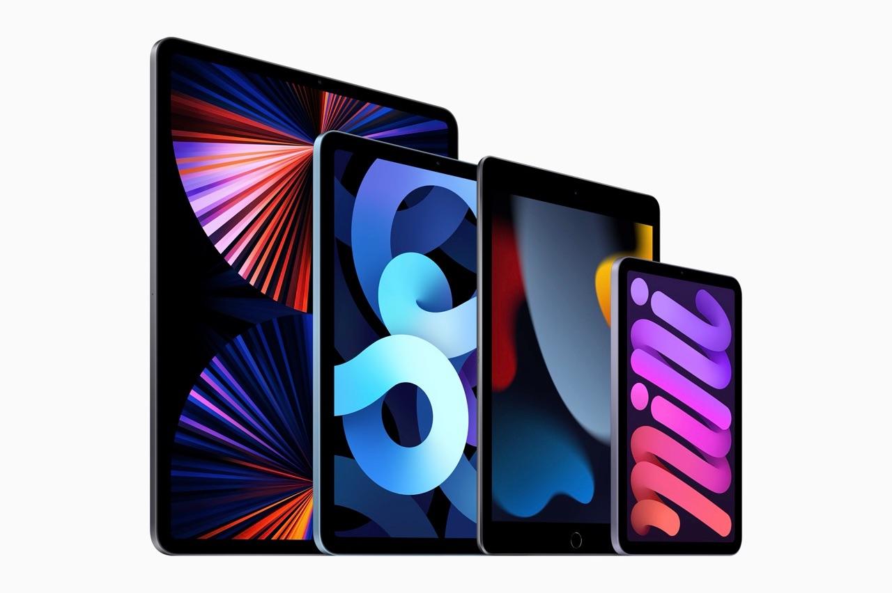 iPad line-up van 2021 modellen schuin.