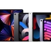 iPad line-up van 2021 vanaf de voorkant.