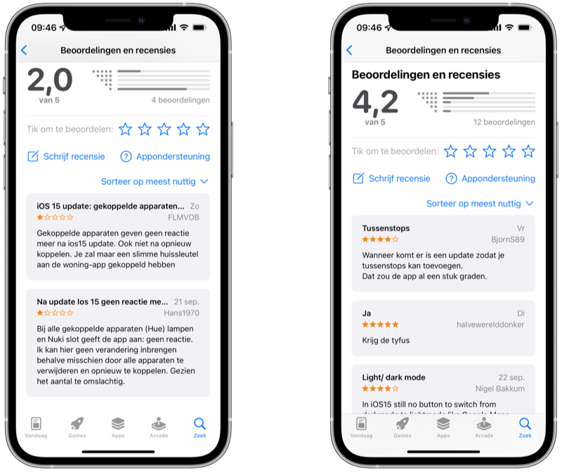 App Store reviews van Apple's standaardapps zoals Woning en Apple Kaarten.