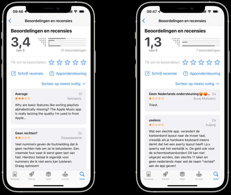 App Store reviews van Apple's standaardapps zoals Apple Music en Vertaal.