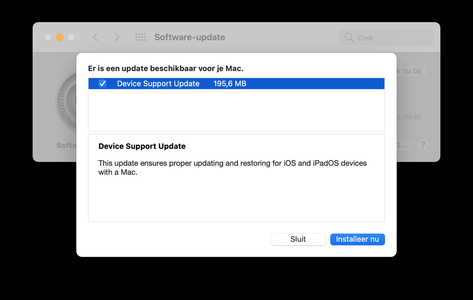 Device Support Update voor macOS Big Sur.