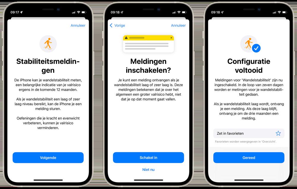 Stabiliteitsmeldingen instellen iPhone