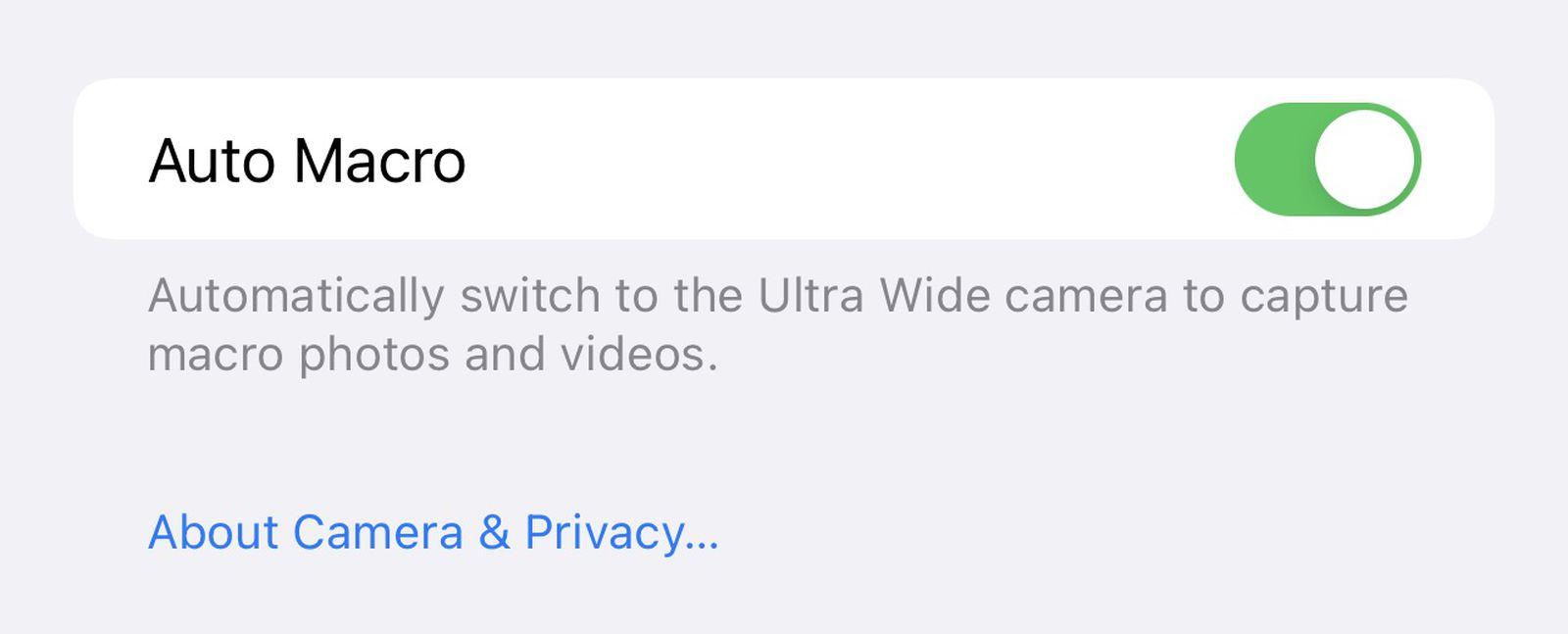 iOS 15.1 beta 3 macro-schakelaar