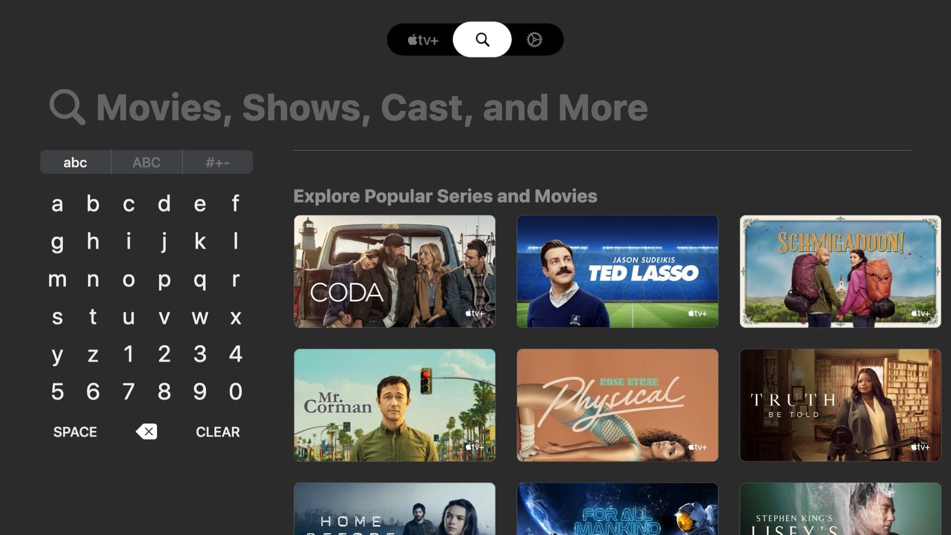 Zoeken in Apple TV Plus app op LG tv.
