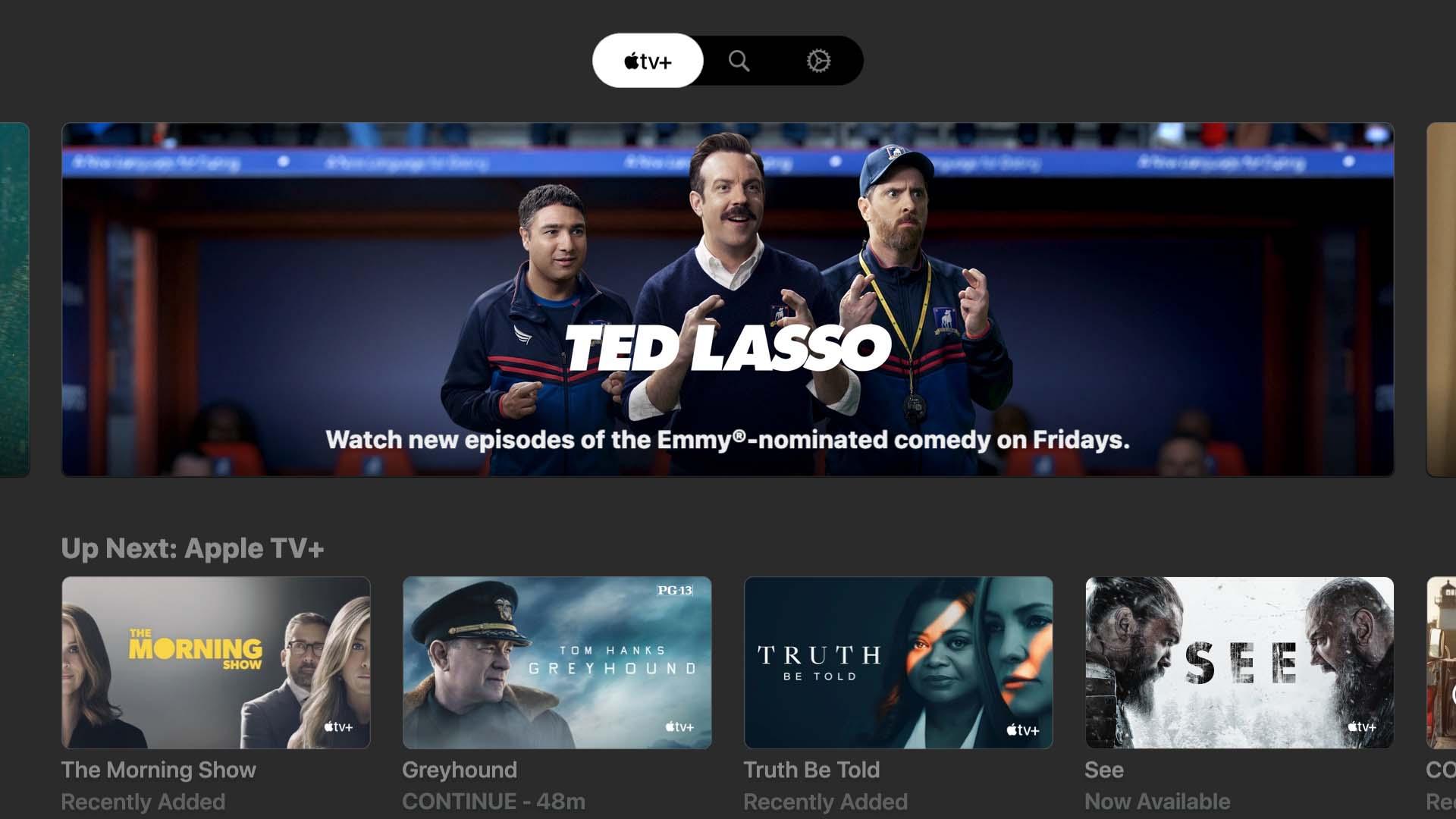Startscherm in Apple TV Plus app op LG tv.