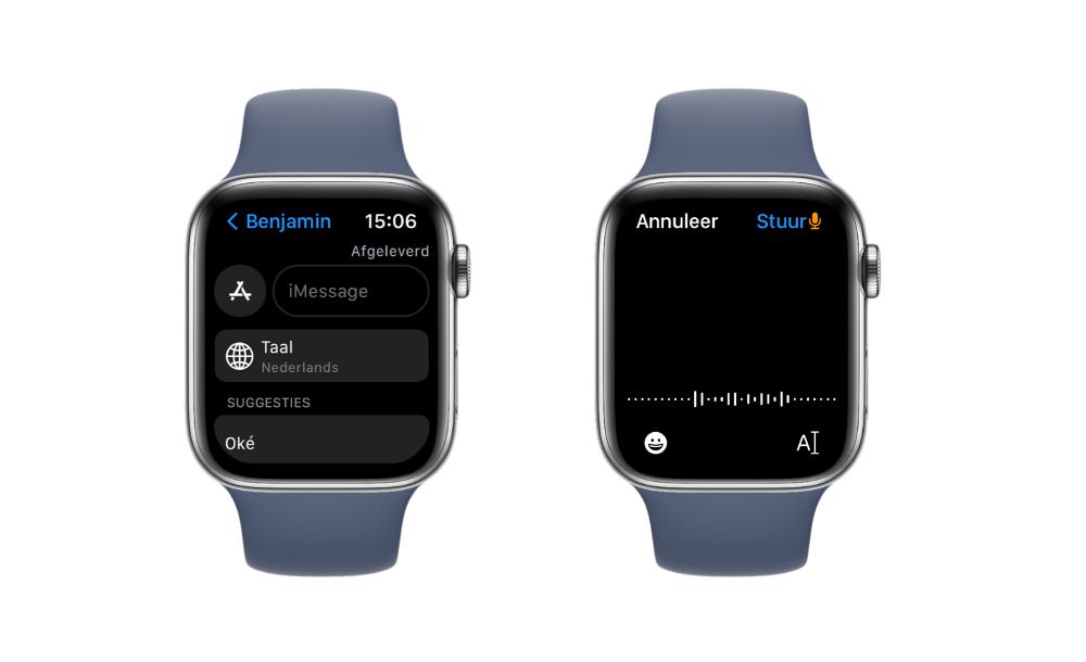 Apple Watch Series 7 met dicteren in het Nederlands.